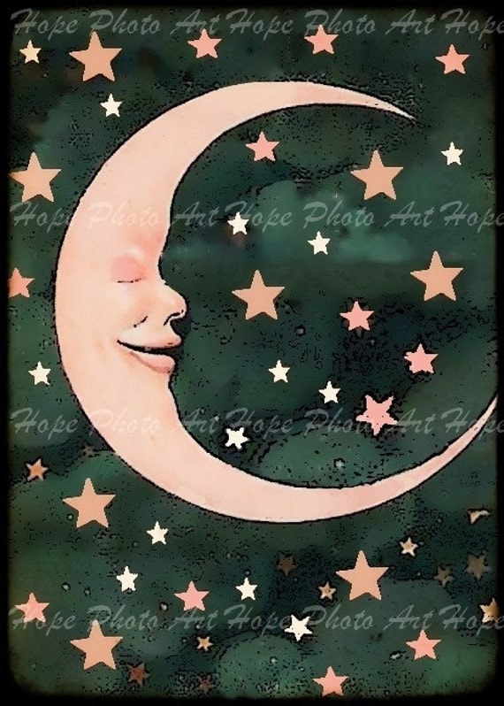 Pink Man in the Moon 4x6 Postcard backgrounds ATC by ...