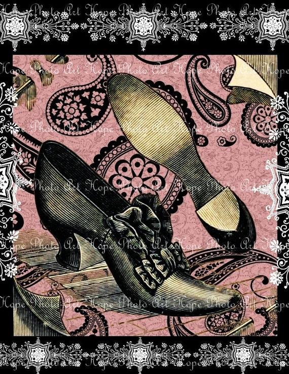 Victorian Paisley Shoes Digital Collage Sheet Image Transfer Burlap Feed Sacks Pillows Tea Towels greeting cards UPrint 300jpg