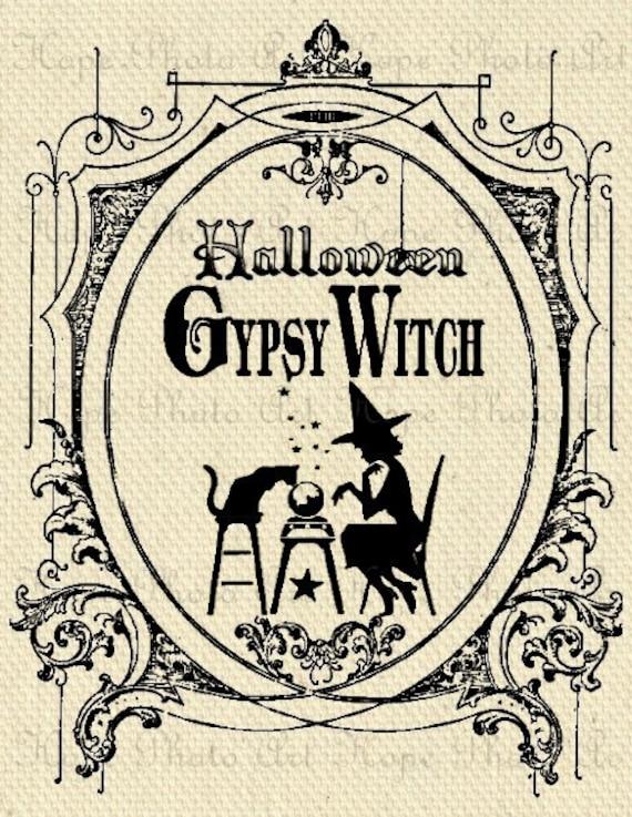 Halloween Gypsy Witch Digital Collage Sheet Image Transfer Burlap Feed Sacks Canvas Pillows Tea Towels greeting cards U Print 300jpg