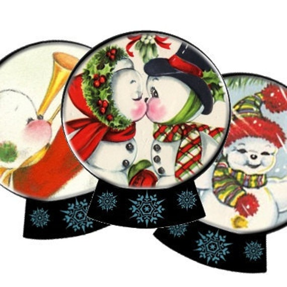 Snow Globe Snowman 3x3 Circle Tags Digital Collage Sheet christmas Atc Aceo greeting cards paper supplies UPrint 300jpg