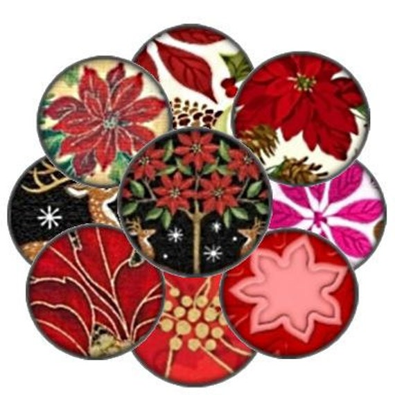 Poinsettia Christmas 1 Inch Circle Digital Collage Sheet bottlecaps jewelry pendant ring domes round bubbles Uprint 300jpg