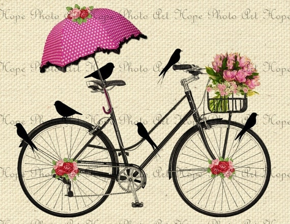 Spring Day Bicycle Ride Digital Collage Sheet Image Transfer Burlap Feed Sacks Canvas Pillows Towels greeting cards umbrella UPrint 300jpg