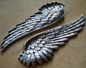 2 SILVER Wings (Angel) Very Detailed Silver With Holes one at each end