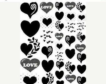 Heart Sepia Decals for Glass Fusing 35 Heart Assortment for Glass, Ceramics and Enamels