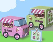 Paper Ice Cream Trucks Toy Kawaii PDF Printable - 0017