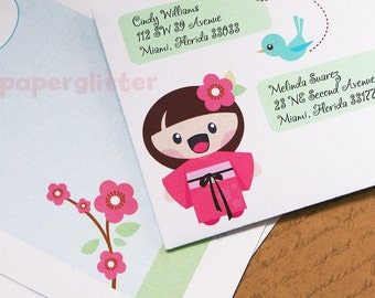 Cherry Blossom and Japanese Kawaii Girl Stationery Set  - Printable PDF With Changeable Text 0007