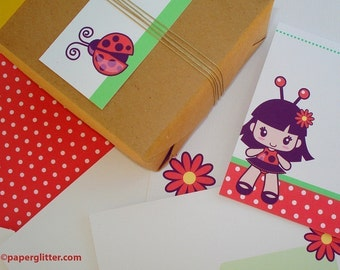 Ladybug Garden Kawaii Stationery Set - Printable PDF 0077