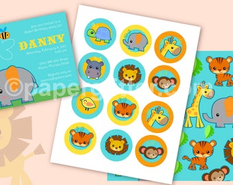 Jungle Safari Animal Printable Mini Party Kit - - Editable Text Printable PDF-You type in the text to personalize. Complete Set 0050