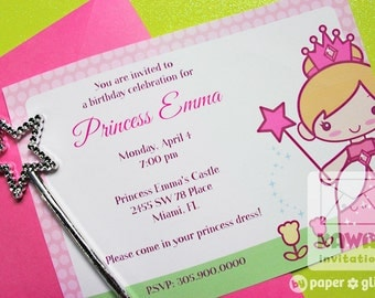 Princess Invitation or Thank You Card for birthday or shower- Printable JPG Pink Option