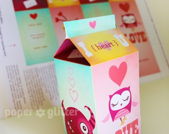 Valentine Milk Carton Box Printable PDF 1015