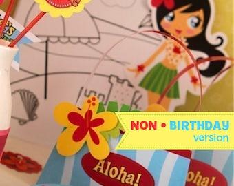 Hawaii Luau ((((NON-BIRTHDAY))) Party Kit - Printable PDF Complete Set 0082