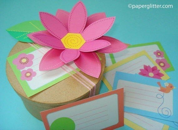 Paper Flower With Gift Tags Set-Printable PDF