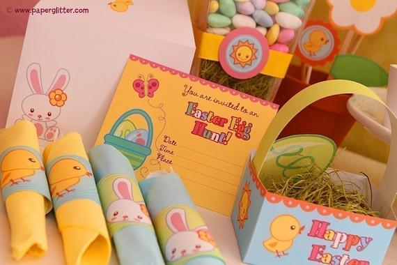 Easter Egg Hunt Bunny Decoration Party Kit-Printable PDF 0047