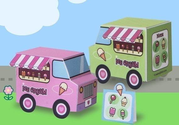Paper Ice Cream Trucks Toy Kawaii PDF Printable - 0017