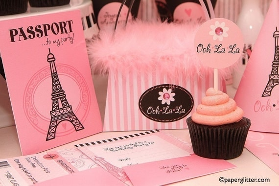 Paris Ooh La La Party Invitation and Kit, Printable Decoration Supplies for Birthday Girl - Printable Party Kit PDF Complete Set