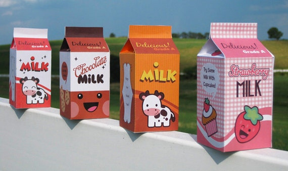 Milk Carton Favor Box or Kawaii Paper Food Toy  - Editable Text Printable PDF-You type in the text to personalize 0027