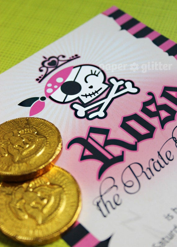 Pirate Princess Invitation with Skull for birthday party girl or Thank You Card Printable PDF or JPG