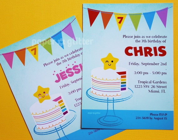 Rainbow Cake Party Invitation for birthday Invite or Thank You Card Printable PDF or JPG