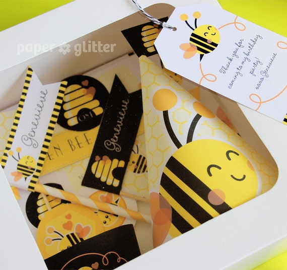 Bee Bumble Bee Printable Party Kit yellow black with invitations and decorations - Editable Text Printable PDF - 0133