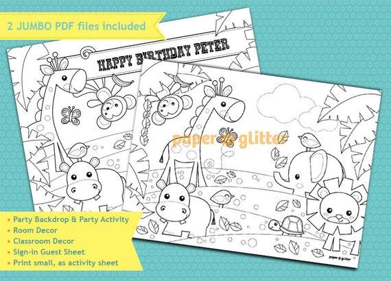 Jungle Safari Party Printable Decoration or Coloring Sheet Backdrop Printable Wall Decor  3 x 4 feet - Editable Text Printable PDF 0125