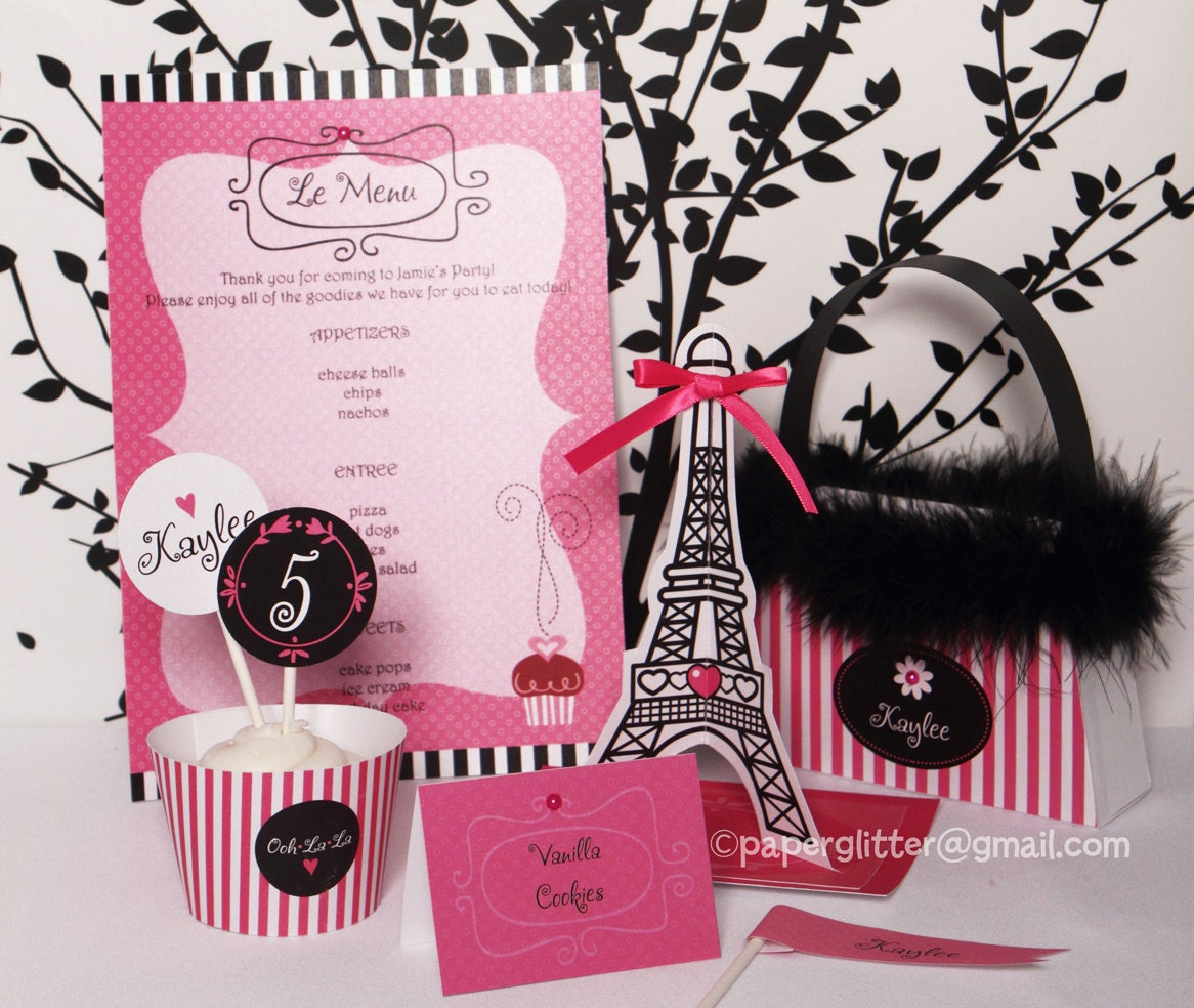 Paris party hot pink invitation and kit printable by for Deco in paris