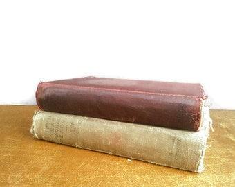Vintage Book Set  1914 Websters Shorter School Dictionary AND Fifth Year Language Reader Baker Carpenter