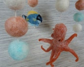 Baby Crib Mobile, Felted Wooly Sea Creatures, 3 figures, made to order