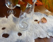 Rustic Modern Felted Table Runner, Gray and White 100% Wool