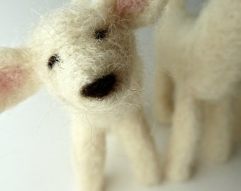 Spring Lambs, Felted Flock, Three Fuzzy Lambs