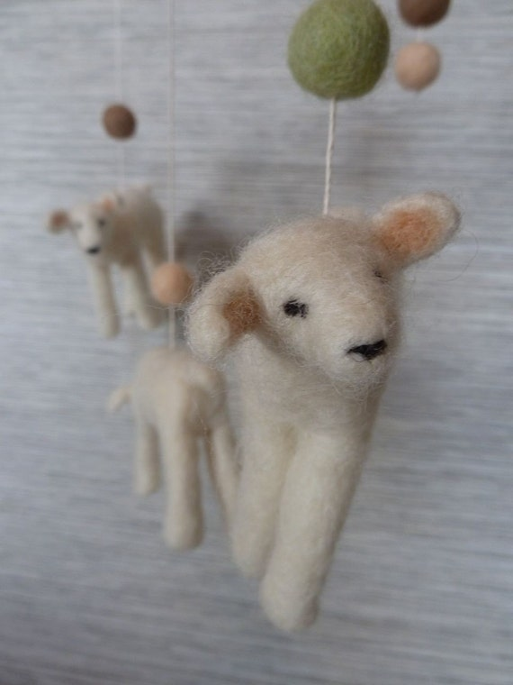 Crib Mobile, Baby Nursery Lambs, Soft Felted Wool MADE TO ORDER