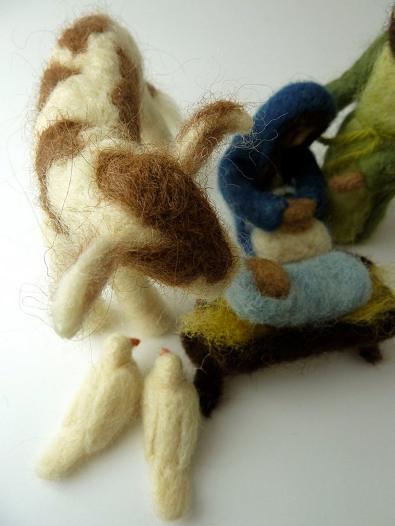 Friendly Beasts Nativity Set, Felted Nativity, MADE TO ORDER