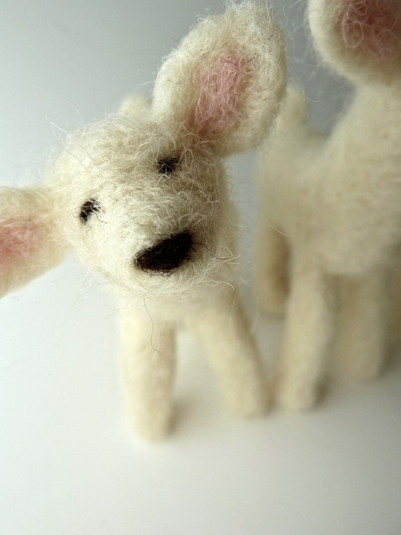 Spring Lambs, Felted Flock, Three Fuzzy Lambs