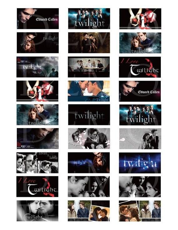 New TWILIGHT digital collage, Twilight Saga New Moon, Twilight printable collage 2x1, Twilight printable collage pdf or jpg, Twilight Domino size collage