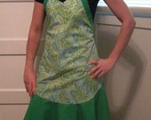 SALE Cute Trendy Green Paisley and Polka Dot Apron