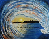 Original Painting Sunset Tubular Wave