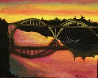 Original Fine Art  Painting  Bridge Over Rogue River