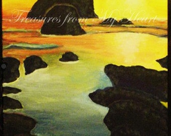 Original Fine Art Painting  Sunset at Bandon Beach