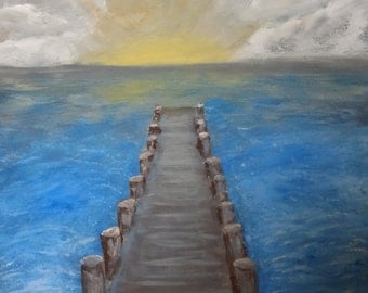 Original Painting The Pier at Sunset