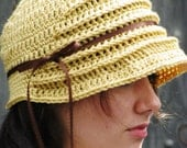 FLAPPER Cloche Hat in Pale Mustard..Handmade