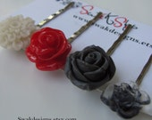 Rose Bobby Pin Set Red Gray Black Ivory Mum Rose Hair Clips Cute Hair Pins Bridesmaid Gift Idea Gifts for her - Handmade