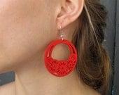 Wood Hoop Earrings Red Bohemian Earrings Large Red Earrings Carved Earrings Wood Jewelry Gifts for her Lightweight