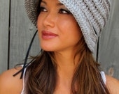 Womens Hat FLAPPER Cloche Hat Year Round Hat Cap with Ribbon Sun Hat Light Gray or Choose Your Color