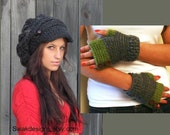 Slouchy Hat Fingerless Glove Set Gifts for her Two Leather Button Band Slouchy Newsboy Hat Save on Set CHOOSE Your Colors
