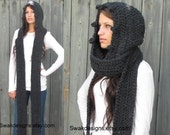 Hooded Scarf Scoodie Messenger Scarf Handmade Long Womens Scarf Chunky Wool Blend Scarf Gift for her - Charcoal Gray or Choose Color
