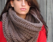 Oversized Chunky Cowl Wool Hooded Cowl Snood Unisex Cowl Scarf Chunky Scarf Noni Tunnel Cowl Mortar Brown or Choose Your Color