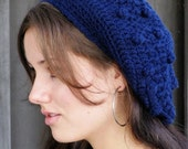 Bobble Slouchy Wool Hat, Slouchy Wool Cap, Textured Womens Cap, Navy Blue or CHOOSE Your Color