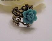 Japanese Blue Rose Ring Dainty Ring Antiqued Gold Filigree Tiny Rose Ring