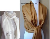 Bronze Gold Pashmina Scarf Wedding Pashmina Bridal Shawl Bridesmaid Gift Idea Womens Scarf Wrap Stole Bridesmaid Gift or CHOOSE Your Color