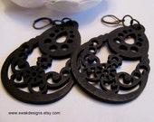 Black Tribal Filigree Wood Earrings HandCarved Wood Earrings Dangle Chandelier Bohemian style - Handmade Laser Cut