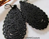 Long Black Rose Earrings Large Rose Wood Earrings Carved Earrings Dangle Earrings - Bohemian Style